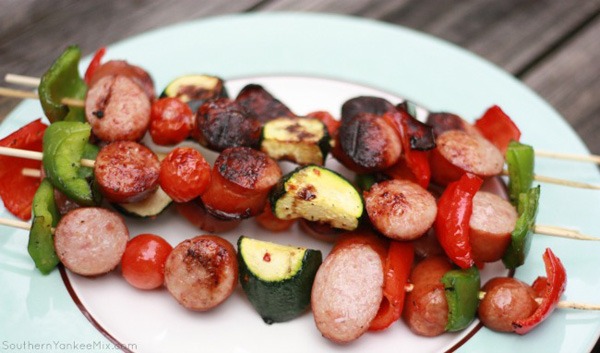 Grilled smoked sausage kebabs