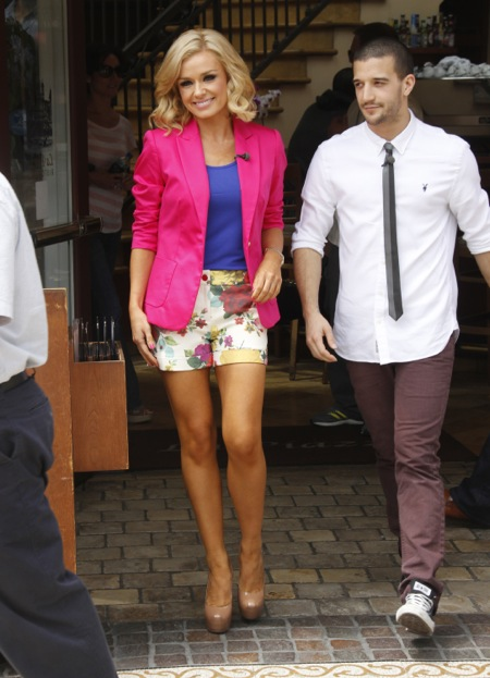 Katherine Jenkins and Mark Ballas appear