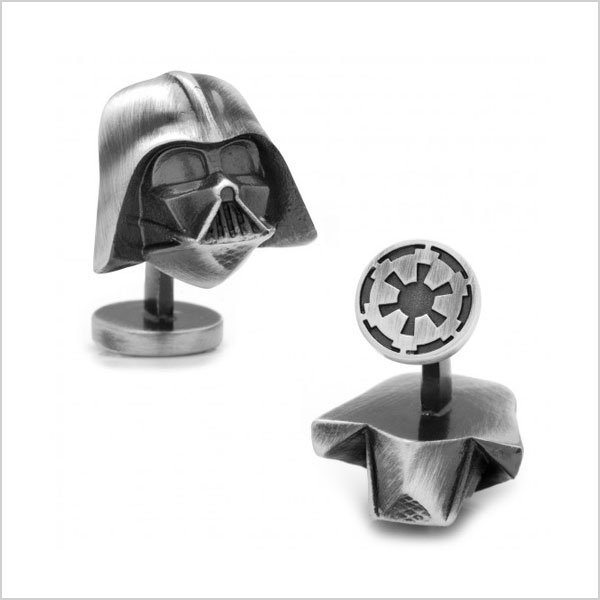 3D Antique Silver Darth Vader Cuff Links