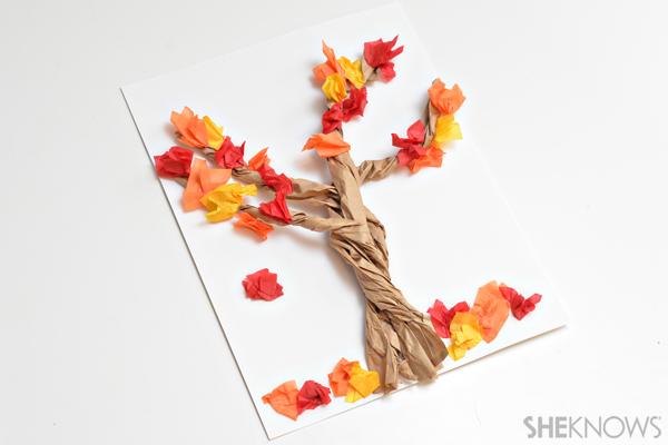 3D paper bag tree craft