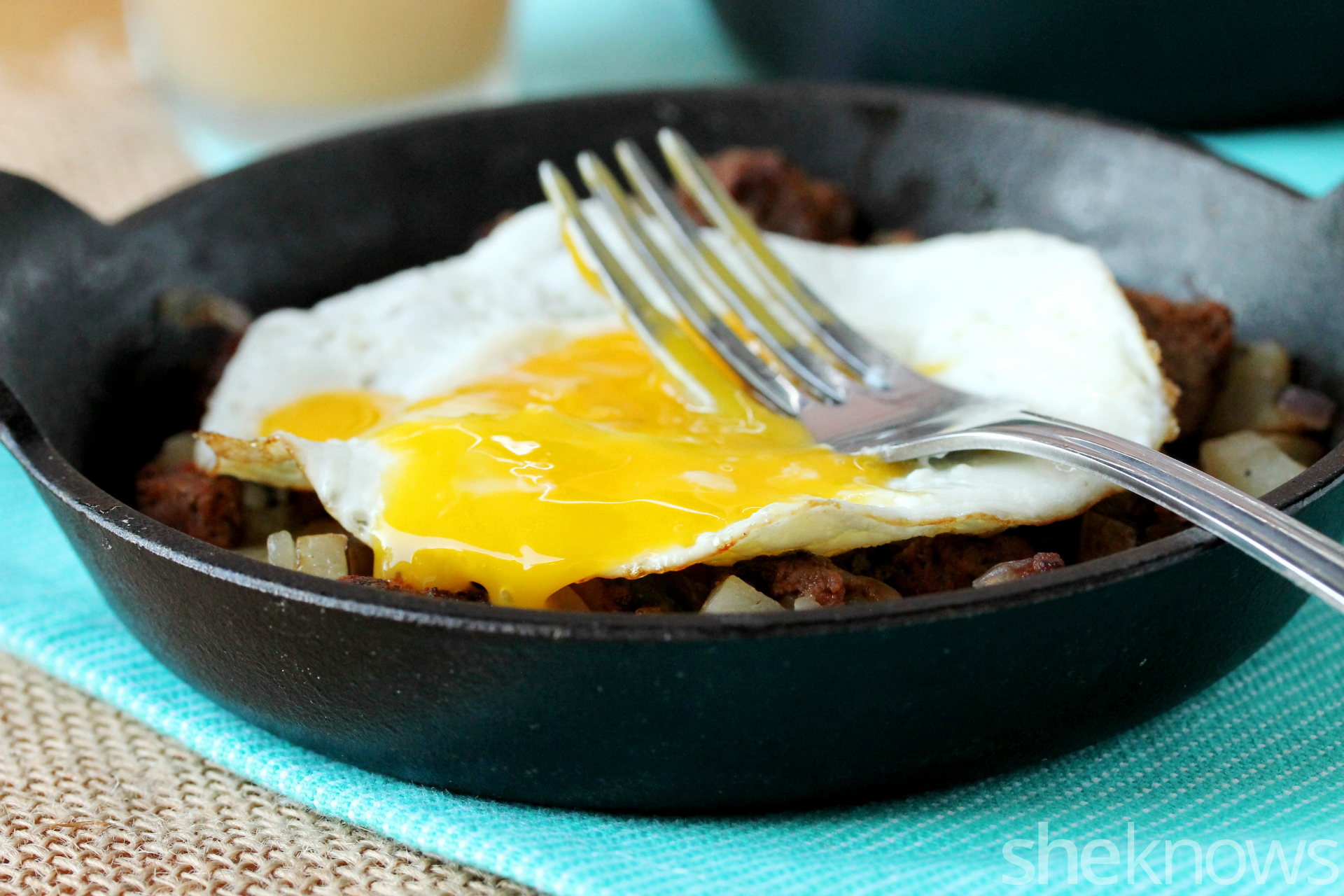 egg in meatloaf and hash