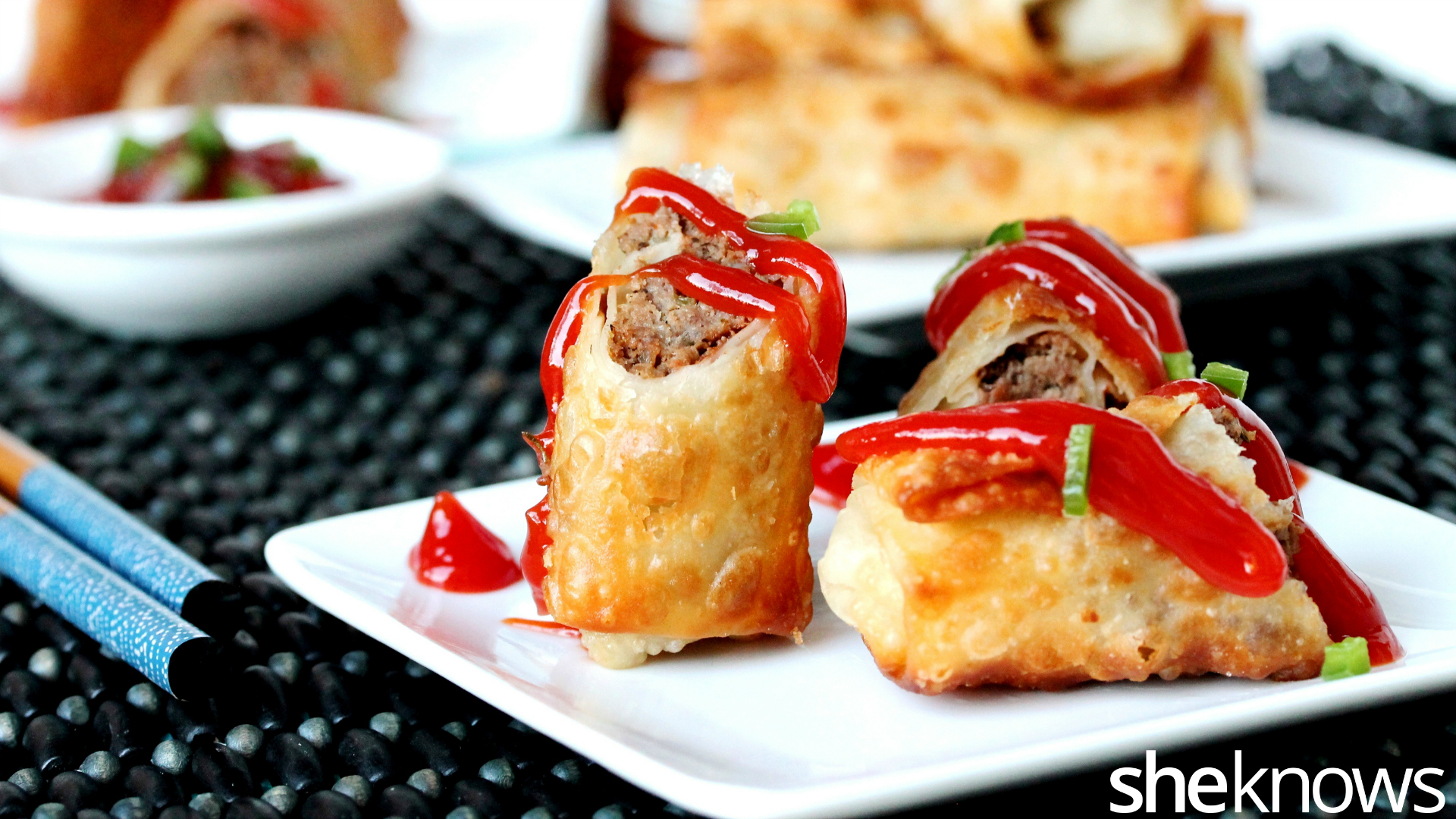 meatloaf egg rolls with ketchup
