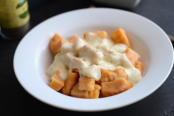 Homemade sweet potato gnocchi with a Gruyère cream sauce