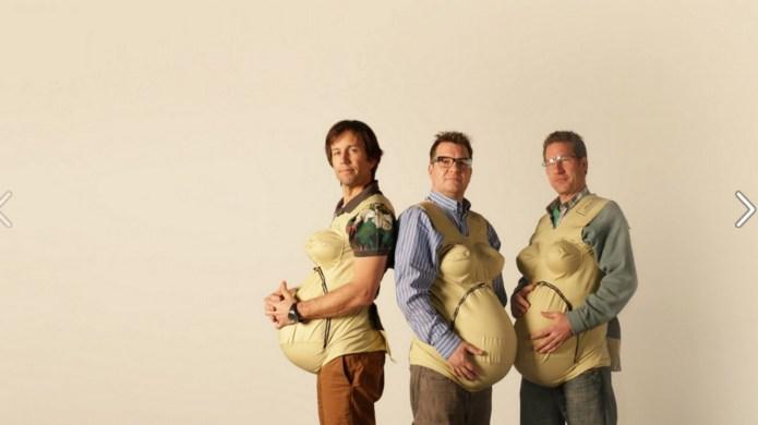 'Three Pregnant Dads' try birth simulator