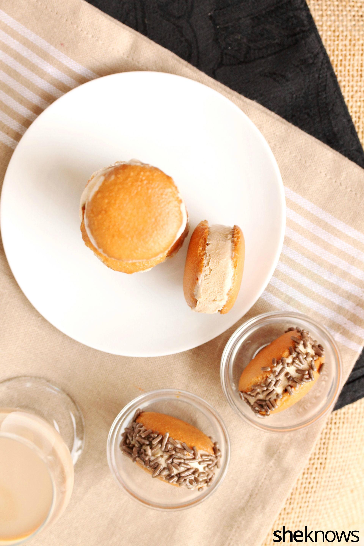 Mini Irish cream and coffee ice cream sandwiches