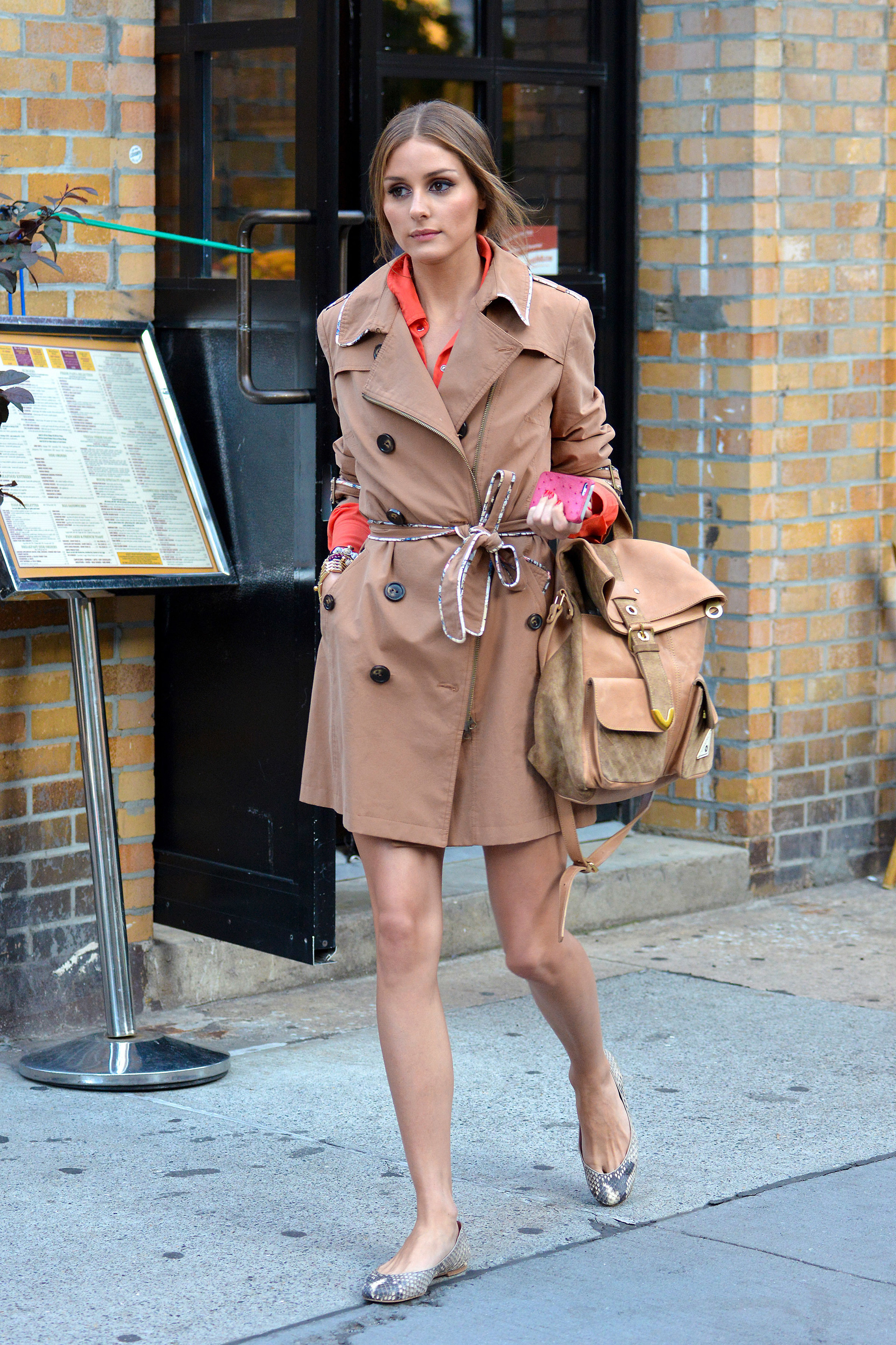 Matching your backpack to your trench coat is a fun way to try out the trend, a la Olivia Palermo.