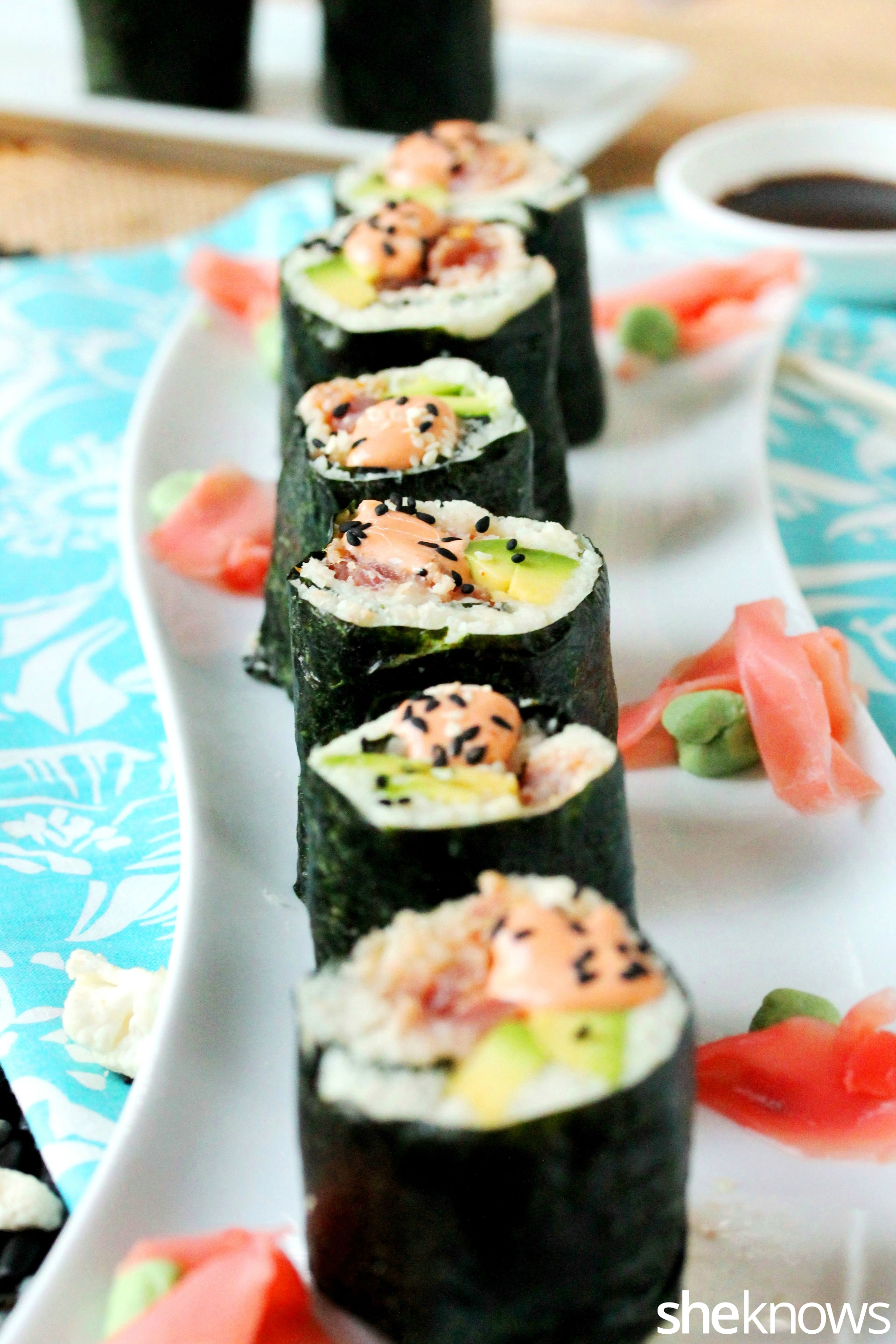 Paleo spicy tuna sushi on dish