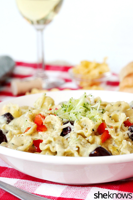 Roasted zucchini cream sauce with pasta recipe
