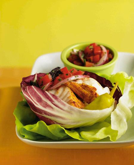 "Lettuce ""gyros"" filled with halibut & cucumber yogurt recipe"