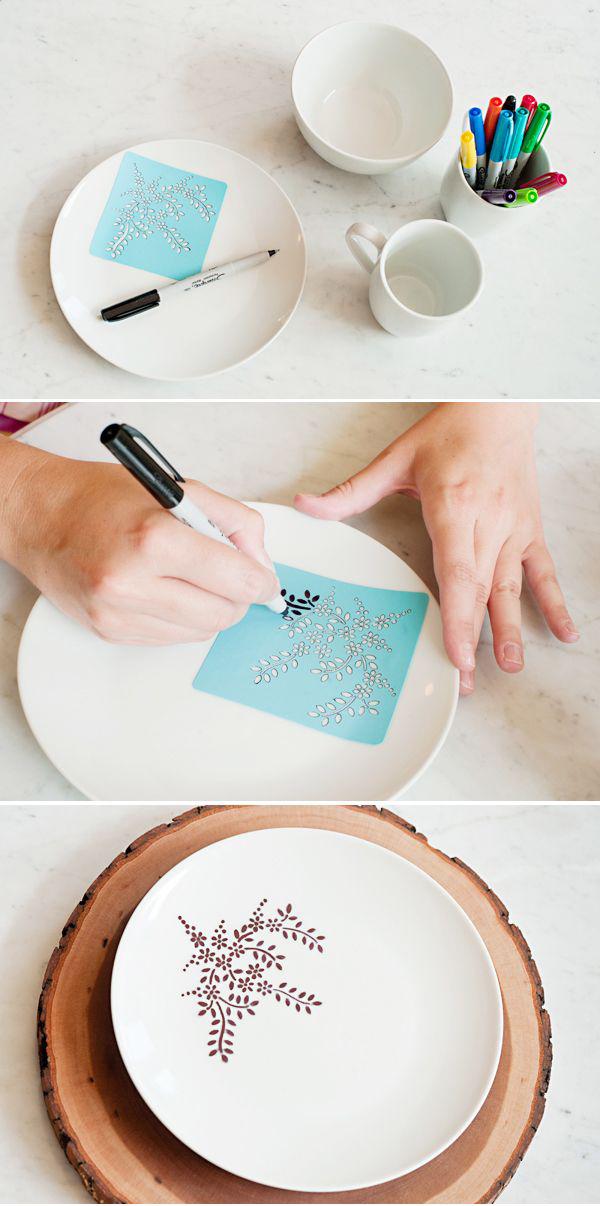 Sharpie dinnerware stenciling