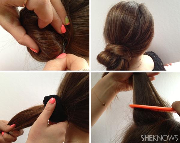 DIY Wedding hair style - chic sock bun