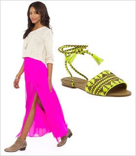 Bright pink maxi paired with neon sandals