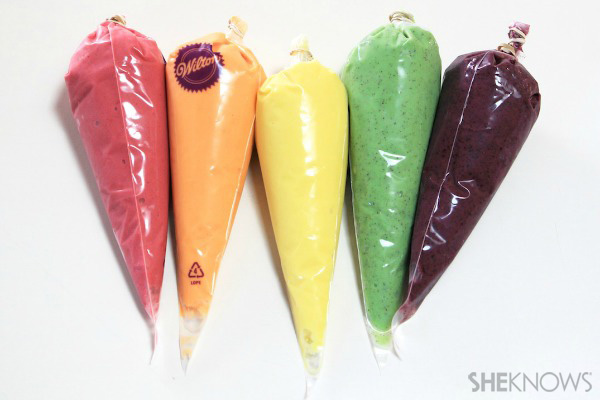 Pastry bags filled with blended fruit