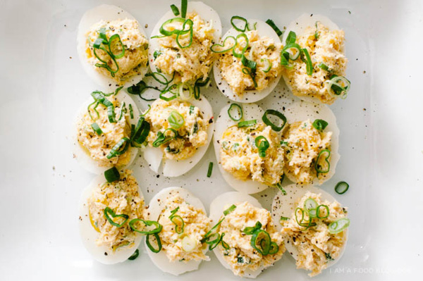 Crab rangoon deviled eggs