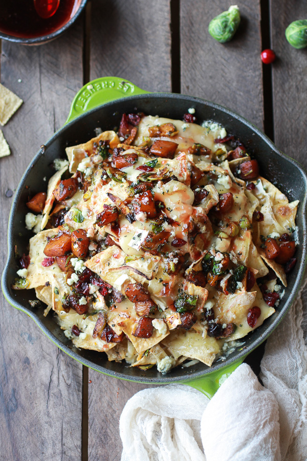 Cranberry, butternut, and Brussels sprouts brie skillet nachos