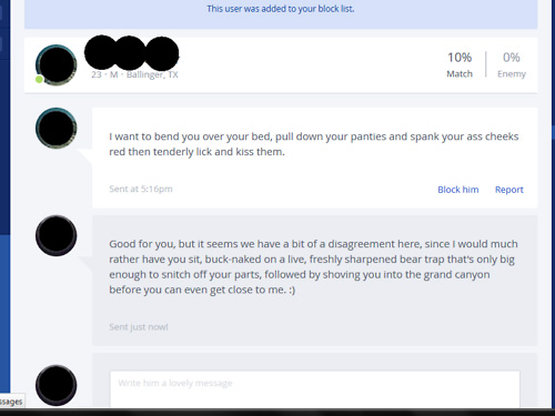 Horrifying and real OKCupid messages 4
