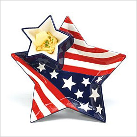 Patriotic Stars and Stripes Chip and Dip Set