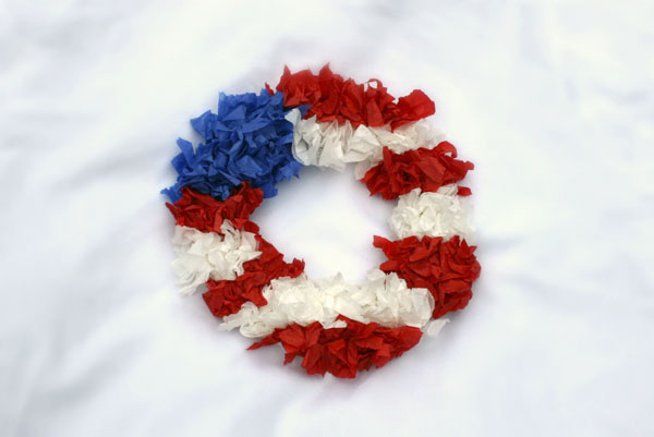 American flag tissue paper wreath