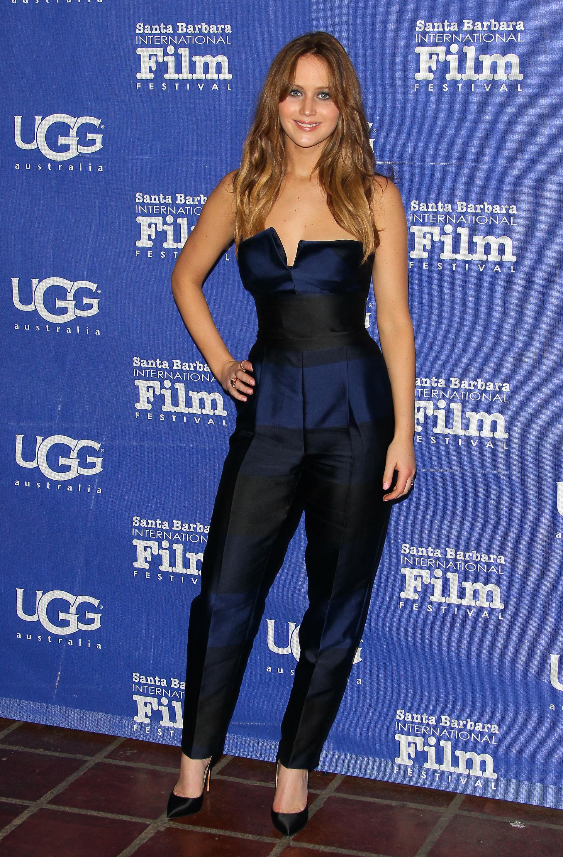 Jennifer Lawrence wearing a jumpsuit