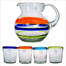 Amici Baja drinking glasses and pitcher