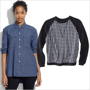 Pair a chambray shirt with a printed sweatshirt