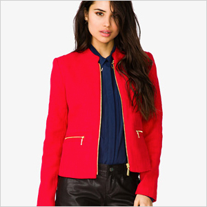 red tweed jacket from Forever21
