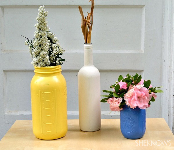 Painted mason jars and wine bottles