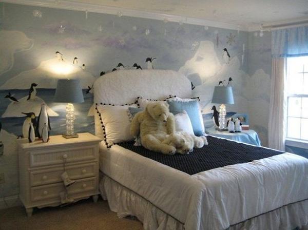 A whimsical wintertime bedroom for kids