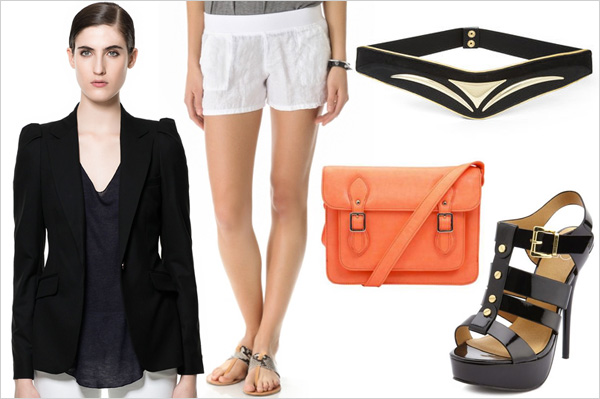 Friday Night: As a top with evening shorts