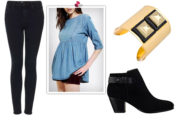 denim on denim for a girls' night out
