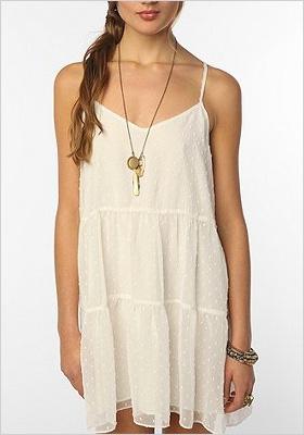 White chiffon tiered dress