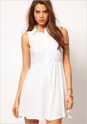 Collared white shirt dress