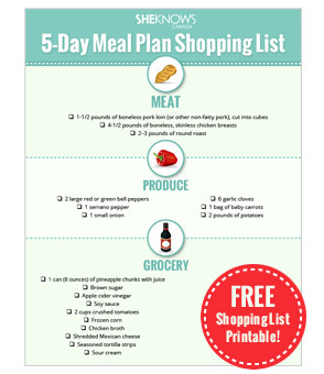 5-Day Meal Plan Shopping List