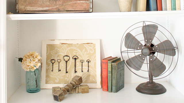 How to accessorize shelves, fan