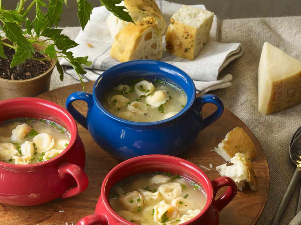 Three bridges five cheese tortellini soup