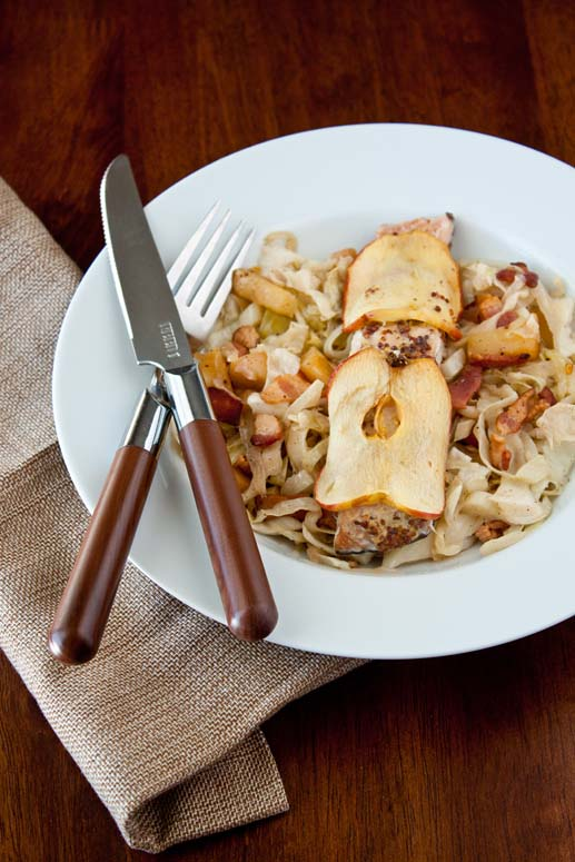 Apple-wrapped salmon with bacon hash