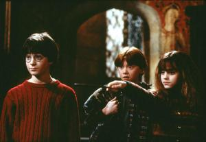 Harry, Ron and Hermione through the
