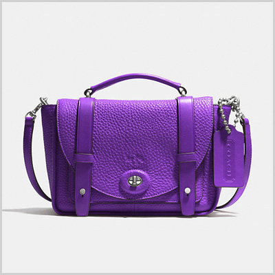 Coach Bleecker Mini Brooklyn Messenger Bag in Dark Nickle/Purple Iris (Coach, $298)