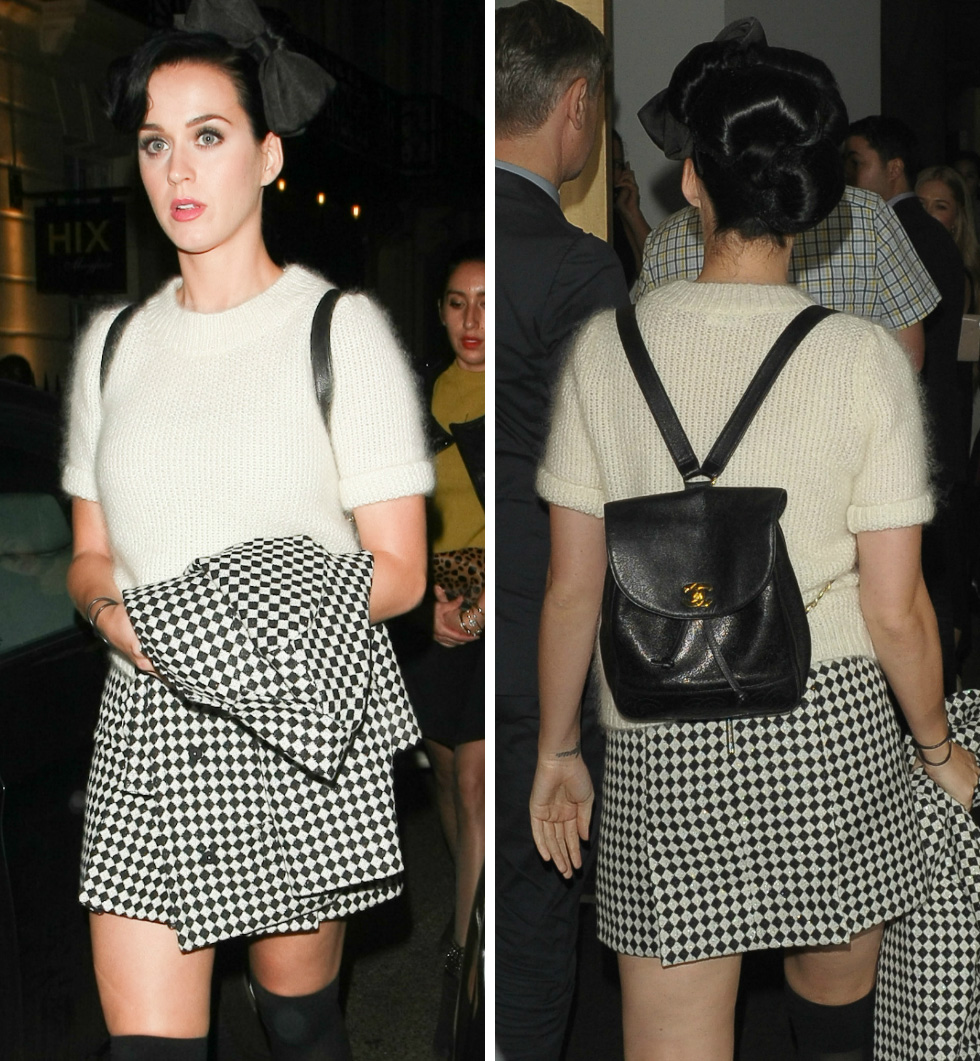 Katy Perry knows well that tiny backpacks can polish off a preppy outfit.