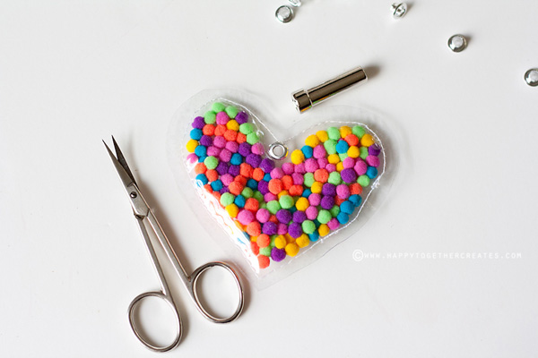 Pom Pom heart necklace