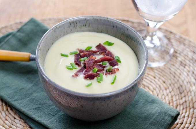 Cauliflower celeriac with bacon soup