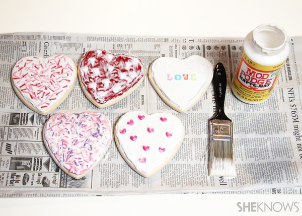 sugar cookie postcard for Valentine's Day: Step 7 Coat with Mod Podge