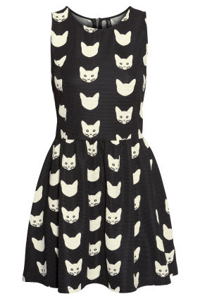 cat covered jersey dress