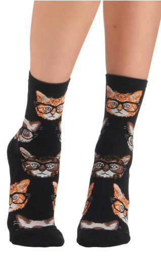 Cats with glasses on socks