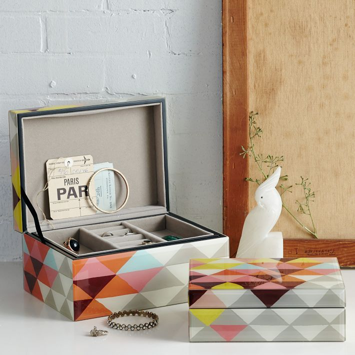 Mosaic Triangles Jewelry Boxes