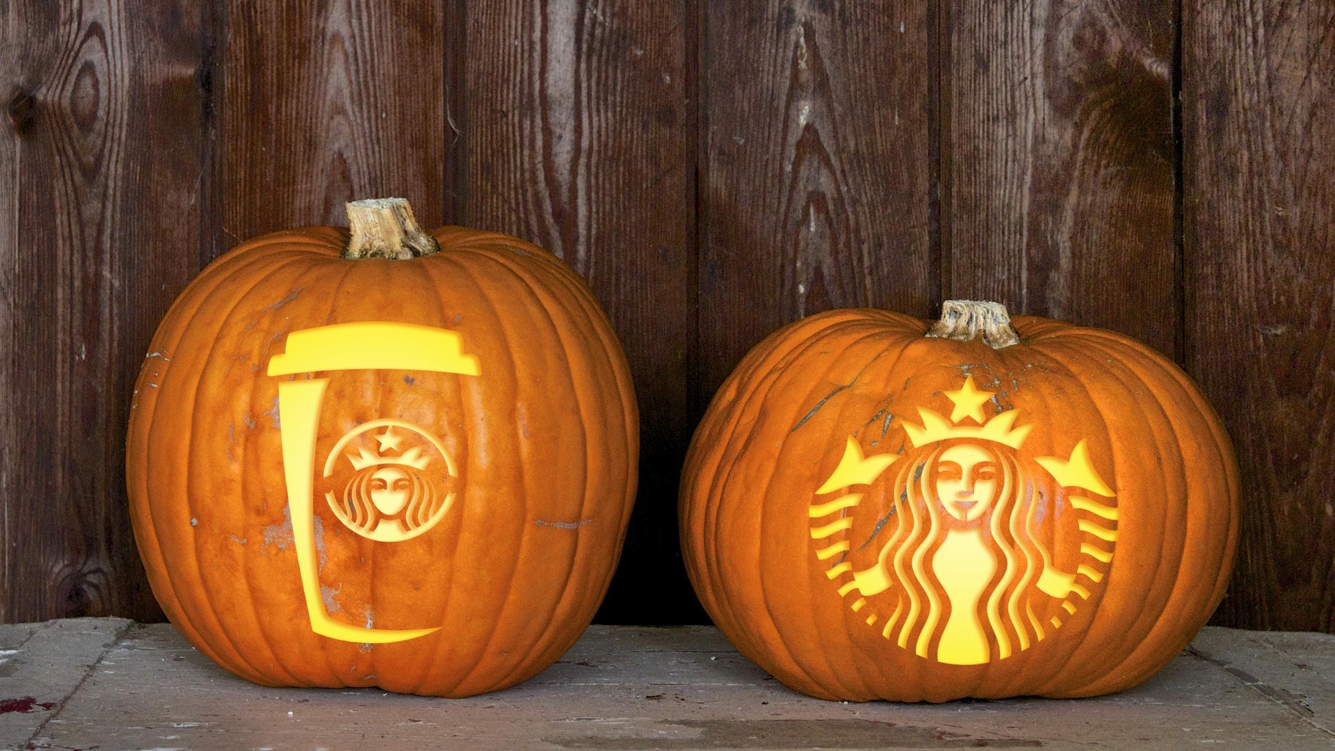 Starbucks pumpkin carving templates