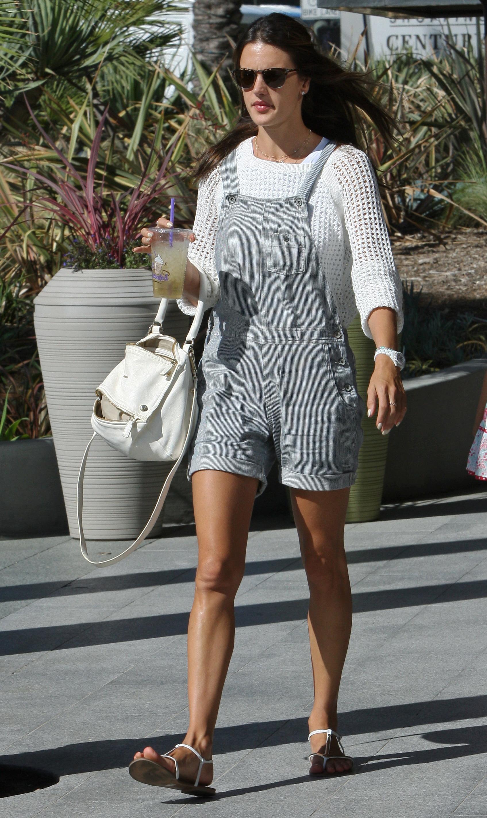 Alessandra Ambrosio wearing overalls