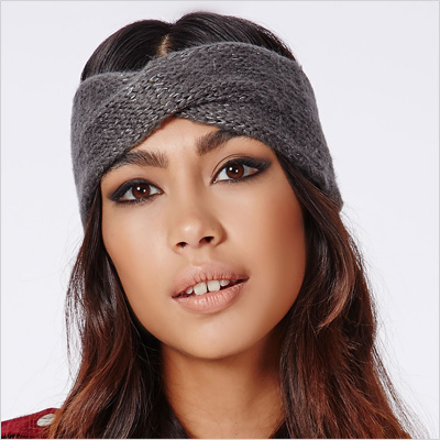 Aline Knitted Glitter Headband in Grey