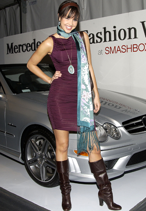 Arielle Kebbel is a Mercedes girl during Fashion Week