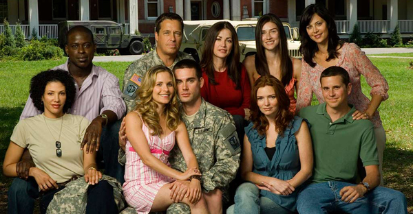 The cast of Army Wives staring Catherine Bell (far right, top)